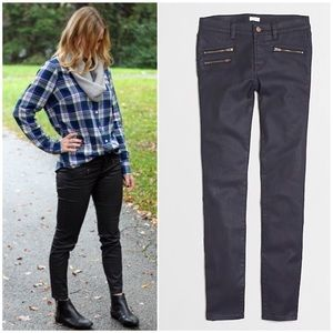 j. crew // coated faux leather zipper skinny jeans